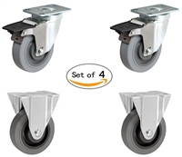 "3"" X 1-1/4"" Thermo Rubber Toolbox Caster Set of 4 - 2 Swivel with Locks and 2 Rigid Casters"