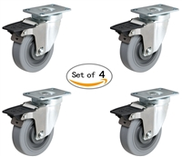 "3"" X 1-1/4"" Thermo Rubber Toolbox Caster Set of 4 Locking Swivel Casters"