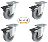 "5"" X 1-1/4"" Thermo Rubber Toolbox Swivel Locking Caster Set of 4"