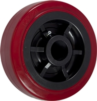 "4"" x 2"" Red on Black Premium Polyurethane on Polyolefin Core - 600 lbs Cap"
