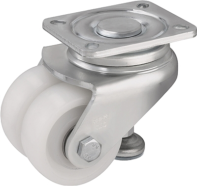 "HRLHD-SPO-75K - 3"" x 2 x 1-1/4"""" Nylon Wheel - Blickle Leveling Caster with Integrated Truck Lock - 1,320 lbs Capacity (1 Piece)"
