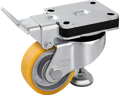 "HRLK-ALTH-100K- 4"" x 1-9/16"" Wheel - Blickle Leveling Caster with Fixed Position Operating Lever and Integrated Truck Lock - Heavy Duty Nylon Wheel - 505 lbs Capacity"