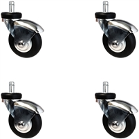 IV Stand Caster Set of 4 (Four), Neoprene Rubber Wheels, 135 lbs Per Caster