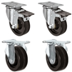 "3"" X 1.25"" Light Duty Phenolic Wheel - 2 Swivel Front Locking 2 Rigid Caster Set of 4 - 1,200 lbs Capacity Per Set of 4"