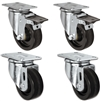 "3"" X 1.25"" Light Duty Phenolic Wheel - 2 Swivel Front Locking Caster 2 Rigid Set of 4 - 1,200 lbs Capacity Per Set of 4"