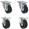 "3"" X 1.25"" Light Duty Phenolic Wheel - 2 Swivel & 2 Rigid Caster Set of 4 - 1,200 lbs Capacity Per Set of 4"
