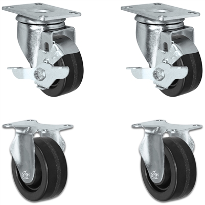 "3"" X 1.25"" Light Duty Phenolic Wheel - 2 Swivels with Brakes & 2 Rigid Caster Set of 4 - 1,200 lbs Capacity Per Set of 4"