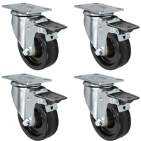 "3"" X 1.25"" Light Duty Phenolic Wheel - Swivel Front Locking Caster Set of 4 - 1,200 lbs Capacity Per Set of 4"