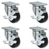 "3"" X 1.25"" Light Duty Phenolic Wheel - Swivel Locking Caster Set of 4 - 1,200 lbs Capacity Per Set of 4"