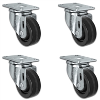 "3"" X 1.25"" Light Duty Phenolic Wheel - Swivel Caster Set of 4 - 800 lbs Capacity Per Set of 4"