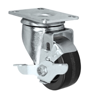 "3"" X 1.25"" Light Duty Phenolic Wheel - Swivel Caster with Top Locking Brake"