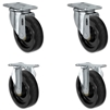 "5"" X 1.25"" Light Duty Phenolic Wheel - Set of 4 - 2 Swivel Casters 2 Rigid - 1,400 lb capacity per set of 4"