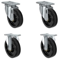 "4"" X 1.25"" Light Duty Phenolic Wheel - Set of 4 - 2 Swivel Casters 2 Rigid - 1,400 lb capacity per set of 4"