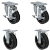 "5"" X 1.25"" Light Duty Phenolic Wheel - Set of 4 - 2 Locking Casters 2 Rigid - 1,400 lb capacity per set of 4"