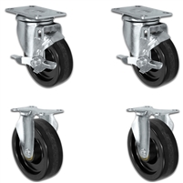 "4"" X 1.25"" Light Duty Phenolic Wheel - Set of 4 - 2 Locking Casters 2 Rigid - 1,400 lb capacity per set of 4"