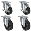 "5"" X 1.25"" Light Duty Phenolic Wheel - Set of 4 - 2 Top Locking & 2 Rigid Casters - 1,400 lb capacity per set of 4"