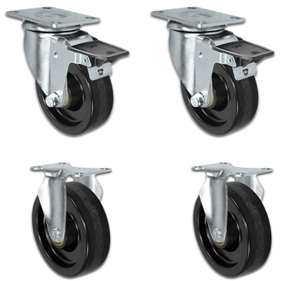 "4"" X 1.25"" Light Duty Phenolic Wheel - Set of 4 - 2 Front Locking 2 Rigid Casters - 1,400 lb capacity per set of 4"