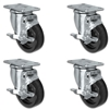 "5"" X 1.25"" Light Duty Phenolic Wheel - Set of 4 - 4 Locking Swivel Casters - 1,400 lb capacity per set of 4"