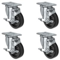 "4"" X 1.25"" Light Duty Phenolic Wheel - Set of 4 - 4 Locking Swivel Casters - 1,400 lb capacity per set of 4"