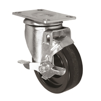 "4"" X 1.25"" Light Duty Phenolic Wheel - Swivel Caster with Top Locking Brake - 350 lb cap."