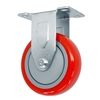 "5"" X 1.25"" Red on Gray Polyurethane on Polyolefin Wheel - Rigid Caster - 340 lbs Capacity"