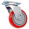 "3"" X 1.25"" Red on Gray Polyurethane on Polyolefin Wheel - Swivel Caster - 260 lbs Capacity"
