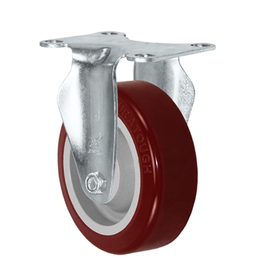 "5"" X 1.25"" Light Duty Maroon Polyurethane on Polyolefin Wheel - Rigid Caster 350 LBS CAP"
