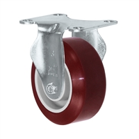 "3"" X 1.25"" Light Duty Maroon on Gray Polyurethane on Polyolefin Wheel - Rigid Caster 275 lbs Capacity"