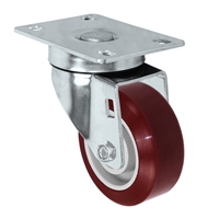 "3"" X 1.25"" Light Duty  Maroon Polyurethane on Polyolefin Wheel - Swivel Caster 275 lbs"