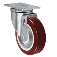 "4"" X 1.25"" Light Duty Maroon on Gray Polyurethane wheels - Swivel Caster 325 LBS CAP"