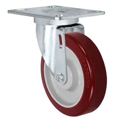 "5"" X 1.25"" Maroon on Gray Polyurethane on Polyolefin Wheel - Swivel Caster 350 LBS CAP"