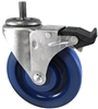 "4"" X 1.25"" Blue Solid Polyurethane Wheel - Total Locking Swivel Caster - 300 lbs Cap"