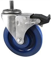 "5"" X 1.25"" Blue Solid Polyurethane wheel - Total Locking Swivel Caster - 350 lbs Cap"