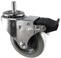 "3"" X 1.25"" Gray Polyurethane on Polyolefin Wheel - Total Locking Swivel Caster - 300 lbs Cap"