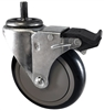 "3-1/2"" X 1.25"" Black Polyurethane on Polyolefin Wheel - Total Locking Swivel Caster - 300 lbs Cap"