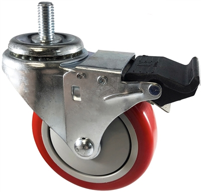 "3"" X 1.25"" Red Polyurethane on Polyolefin Wheel - Total Locking Swivel Caster - 300 lbs Cap"