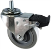 "3-1/2"" X 1.25"" Gray Thermo Plastic Rubber (Non-Marking) Wheel  - Total Locking Swivel Caster - 300 lbs Cap"