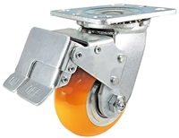 "4"" x 2"" Total Lock Caster with Orange Polyurethane on Aluminum Wheel - 1,000 lbs Capacity"