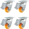 "4"" x 2"" Total Lock Caster Set of 4 with Orange Polyurethane on Aluminum Wheel - 4,000 lbs Capacity Per Set of 4"