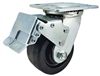 "4"" x 2"" Total Lock Caster with Black Phenolic Wheel - 800 lbs Load Capacity"