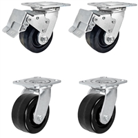 "4"" x 2"" Total Lock Caster Set - 2 Total Locking Swivel & 2 Plain Swivel Casters - Phenolic Wheel - 3,200 lbs Capacity per set of 4"