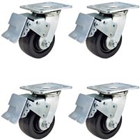 "4"" x 2"" Total Lock Caster Set - 4 Total Locking Swivel Casters - Phenolic Wheel - 3,200 lbs Capacity per set of 4"