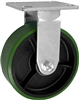 5X2 GREEN POLYURETHANE ON IRON WHEEL, RIGID CASTER, MEDIUM-HEAVY DUTY