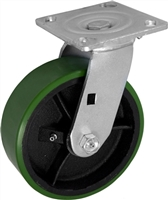 6X2 GREEN POLYURETHANE ON IRON WHEEL, SWIVEL CASTER, MEDIUM-HEAVY DUTY