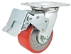 "4"" x 2"" Total Lock Caster with Red Polyurethane on Steel Wheel - 700 lbs Capacity"
