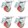 "4"" x 2"" Total Lock Caster Set of 4 with Red Polyurethane on Steel Wheel - 2,800 lbs Capacity per Set of 4"