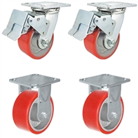 "4"" x 2"" Total Lock Caster Set with 2 Total Locking Swivel & 2 Rigid with Red Polyurethane on Steel Wheel - 2,800 lbs Capacity per Set of 4"