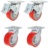 "4"" x 2"" Total Lock Caster Set with 2 Total Locking Swivel & 2 Swivel with Red Polyurethane on Steel Wheel - 2,800 lbs Capacity per Set of 4"