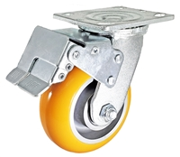 "5"" x 2"" Total Lock Caster with Orange Polyurethane on Aluminum Wheel - 1,250 lbs Capacity"