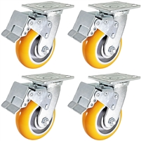 "5"" x 2"" Total Lock Caster Set of 4 with Orange Polyurethane on Aluminum Wheel - 5,000 lbs Capacity Per Set of 4"